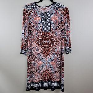 Studio One Paisley 3/4 Sleeve Shift Dress size L